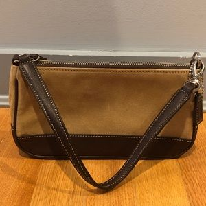 Coach suede shoulder bag With Leather Strap